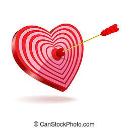 attraverso, suo, colpo, heart., freccia