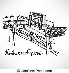 attrazioni turistiche, di, città, di, novosibirsk, russia., ferrovia, s