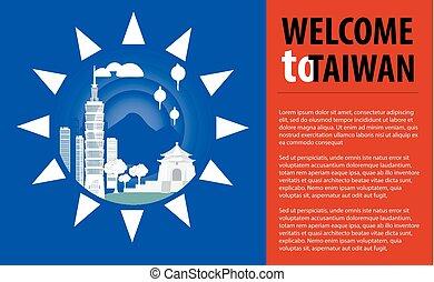 attrazioni turistiche, di, taiwan, in, il, flag., flyer.