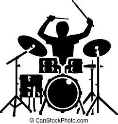 attrezzatura tamburo, azione, tamburino