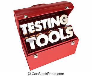 attrezzi, analisi, analisi, parole, toolbox, valutazione, 3d