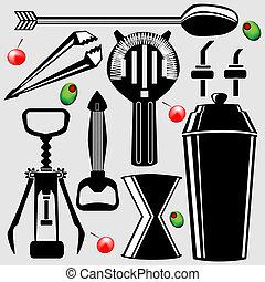 attrezzi, bartending, vettore, silhouette