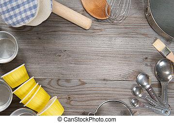 attrezzi, cottura, vista ambientale