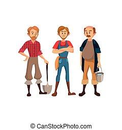attrezzi, differente, concetto, coltivatori, illustrazione, vettore, agricolo, agricoltura, agricoltura, cartone animato