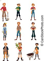 attrezzi, differente, concetto, coltivatori, set, contadino, lavoro, illustrazione, vettore, raccolto, giardinieri, agricolo, agricoltura, agricoltura, cartone animato, raccolta