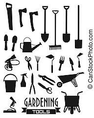attrezzi gardening, agricoltura, giardiniere, apparecchiatura