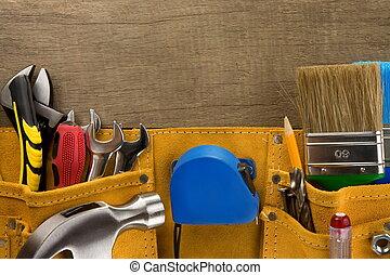 attrezzi, in, costruzione, cintura, su, legno