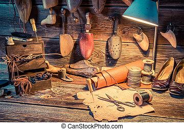 attrezzi, scarpe, cuoio, vendemmia, officina, calzolaio