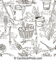 attrezzi, schizzo, giardinaggio, seamless