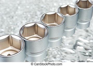 attrezzi, set, .chrome, metallico