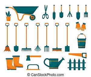 attrezzi, set, giardinaggio, equipment.
