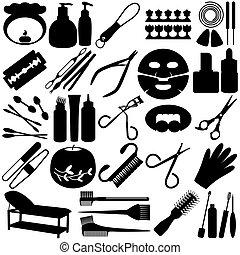 attrezzi, silhouette, bellezza, -, terme, icona