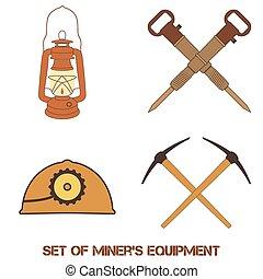attrezzi, vettore, set, miniera