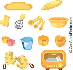 attrezzo, cuocere, cartone animato, icona