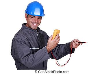 attrezzo, elettricista, sorridente, presa a terra, misura