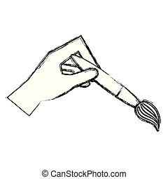 attrezzo, icona, pittura, spazzola, mano