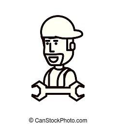 attrezzo, lavoratore costruzione, strappare