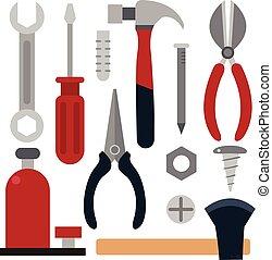 attrezzo, vettore, disegno, artigiano, collezione
