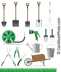 attrezzo, vettore, set, giardino, illustrazione