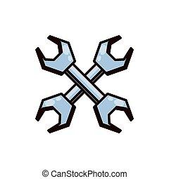 attrezzo, wrenches, attraversato, isolato, icona
