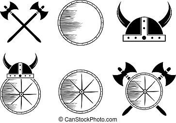 Attribute Viking Set: Shield, Helmet, Axe Silhouettes