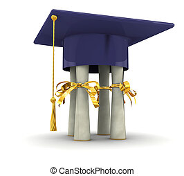 Attributes bachelor - Bachelor cap stand on diplomas. On...