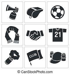 attributes, futebol, ventilador, ícone, jogo