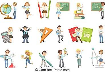 attributes, gigante, niños, escuela