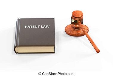 attributes:, llustration, brevet, livre, légal, marteau, droit & loi