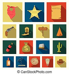 Attributes of the wild west flat icons in set collection for design.Texas and America vector symbol stock web illustration.