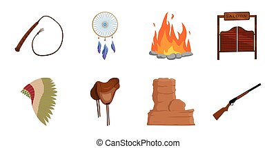 Attributes of the wild west icons in set collection for design. Texas and America vector symbol stock web illustration.