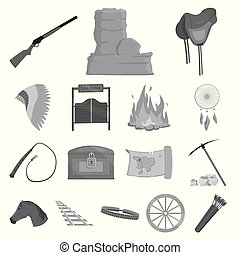 Attributes of the wild west monochrome icons in set collection for design.Texas and America vector symbol stock web illustration.