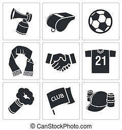 attributes, piłka nożna, komplet, miłośnik, ikona