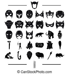 attributes, primitive, century and other web icon in black...