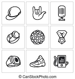 Attributes rapper icons set. - Flat Icons collection on a...