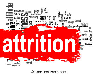 Attrition word cloud with red banner