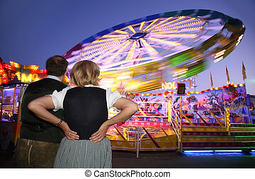 attrraction, 見なさい, 恋人, 公園, 夜, 光景