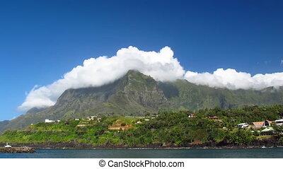 Atuona, Hiva Oa - Time Lapse Clouds over Atuona, Hiva Oa,...