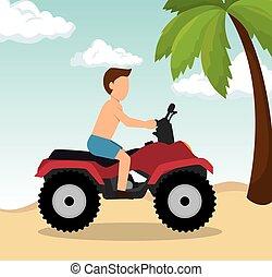 atv, 浜, ドライブしなさい, 人