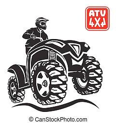 atv, all-terrain jármű, terep-, tervezés, elements.