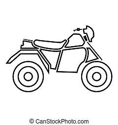 atv, aquilo, quatro, pretas, motocicleta, rodas, ícone