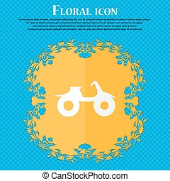 ATV icon. Floral flat design on a blue abstract background with place for your text. Vector