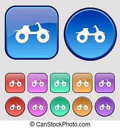 ATV icon sign. A set of twelve vintage buttons for your design. Vector
