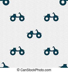 ATV icon sign. Seamless pattern with geometric texture. Vector