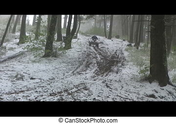 atv in snowy trail