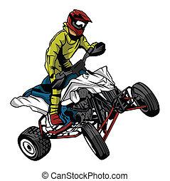 ATV, jeździec,  moto