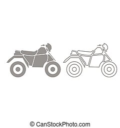atv, jogo, cinzento, quatro, motocicleta, rodas, ícone