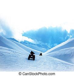 atv, montañas, nevoso