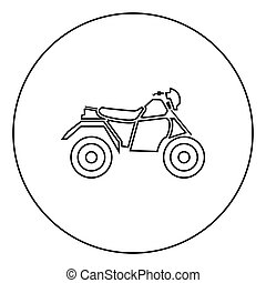 ATV motorcycle on four wheels black icon in circle outline