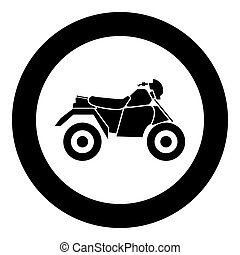 ATV motorcycle on four wheels black icon in circle vector illustration